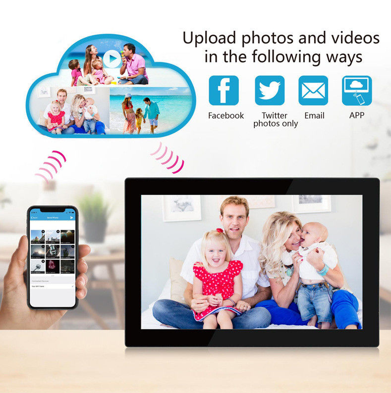 Programmeable HD IPS screen Cloud Wifi Digital Photo Frame 10 Inch Android 8.1 With Touch Screen